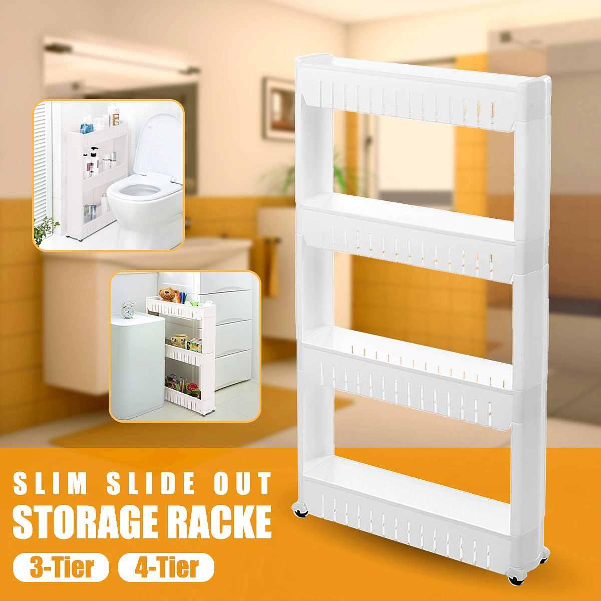 3/4 Tier Kitchen Trolley Rack Slim Slide Out Home Storage Holder Shelf Rack Kitchen Bathroom Cart Home Organizer With Wheels