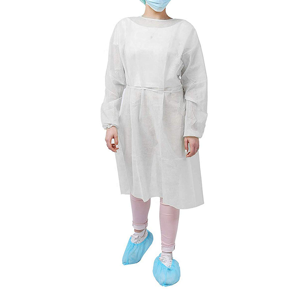10pcs/set Non-woven Security Protection  Surgical Gown With Elastic Cuff Non-Woven Coveralls Disposable Isolation Gown