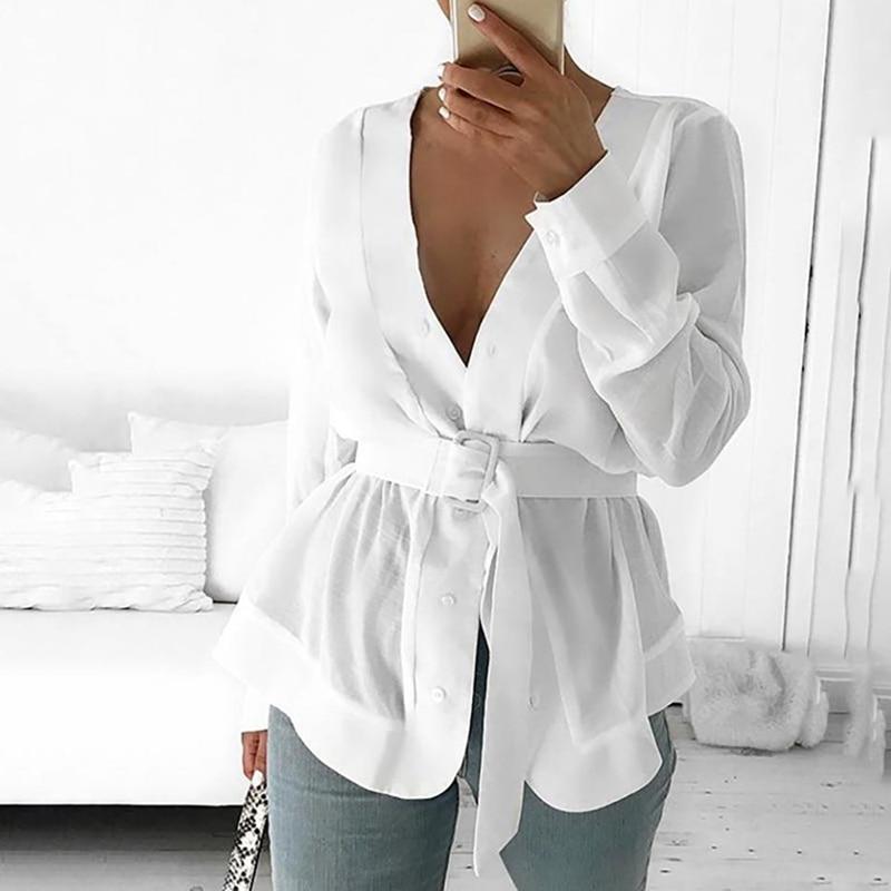 2020 New Spring Women With Belt Tunic Shirt Blouse Long Sleeve Peplum Casual Top  Workwear Mujer Blusas White Shirts