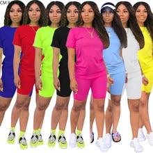Cm. yaya conjunto de duas peças feminino, roupas fitness para verão top de manga curta + shorts de corrida, roupa fitness para esportes gl5263 S-4XL