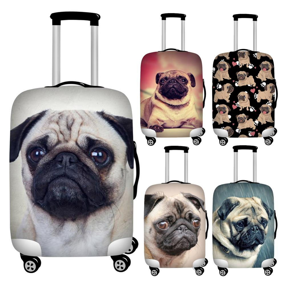 Twoheartsgirl Stretch Puppy Pug Print Suitcase Cover 18/20/22/24/26/28/30/32 Waterproof Travel Luggage Protective Dust Covers