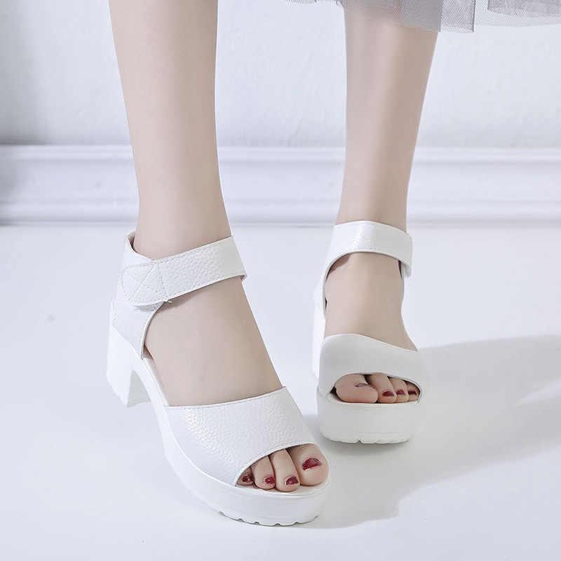 QSR buty kobieta 2019 letnia kobieta sandały buty na wysokim obcasie gruby obcas z wystającym palcem sandały na platformie platforma biała