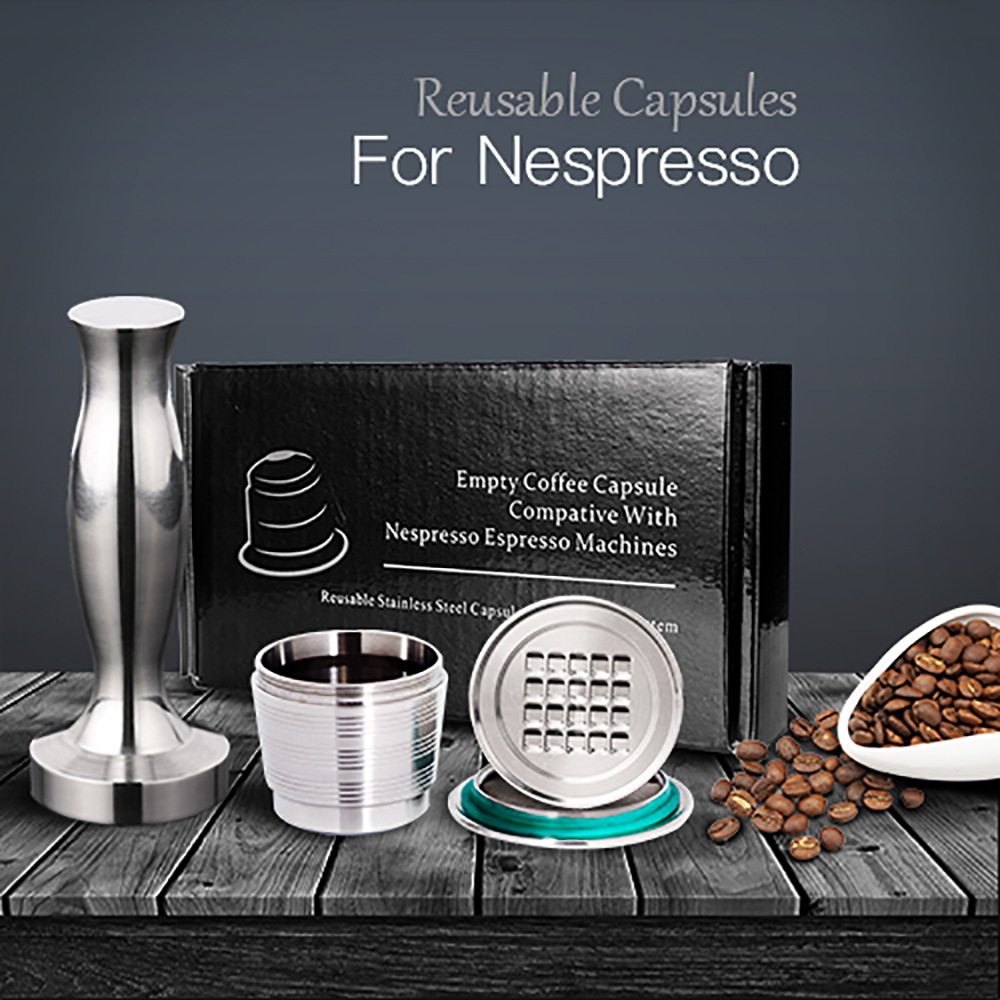 Stainless Steel Nespresso Refillable Coffee Capsule Tamper Reusable Cafe Pod Machine Accessories Kitchen Business Christmas Gift(China)