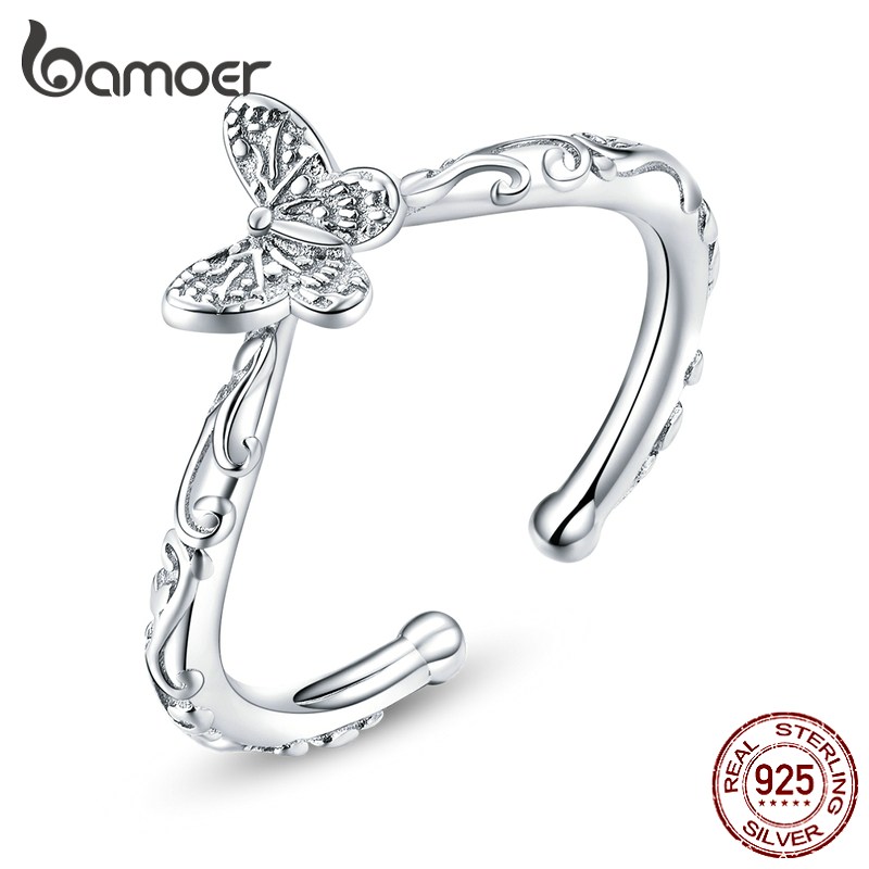 Bamoer Butterfly Finger Rings For Women Adjustable 925 Sterling Silver Ring 2020 Spring New Collection Fashion Bijoux SCR634