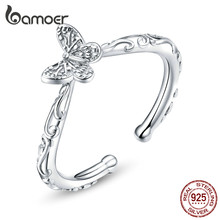 bamoer Butterfly Finger Rings for Women Adjustable 925 Sterling Silver Ring 2020 Spring New Collection Fashion Bijoux SCR634(China)