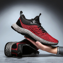 2020 Men Sneakers Fly Weave Non-slip Running Shoes Trainers Footwear Black Red L