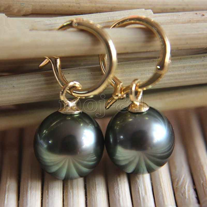 Natural 14mm Tahitian Black South Sea Shell Pearl Silver 14k Gold GP Earring