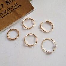 2021 neue Perle Einfache Reif Fünf-Stück Retro Mode Persönlichkeit Joint Ring Stapel Tragen Täglich Vielseitig Finger Band Ins frauen