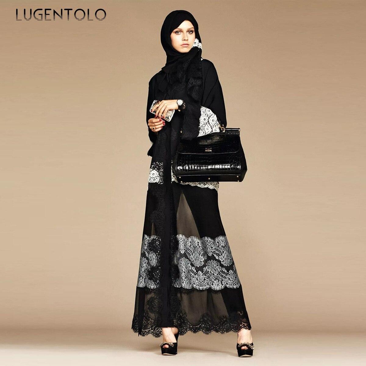 Lugentolo Women Classic Dress Lace Fashion Muslim New Black Panel White Chiffon Cardigan Dress Lady Loose Abaya Maxi Dresses