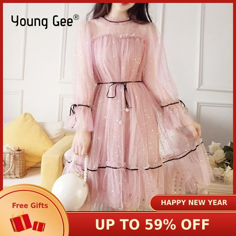 Young Gee Women Summer Autumn Bling Stars Sequins Mesh Dress NEW Ruffles Lace Female Flare Sleeve Loose Vintage Dresses Vestidos
