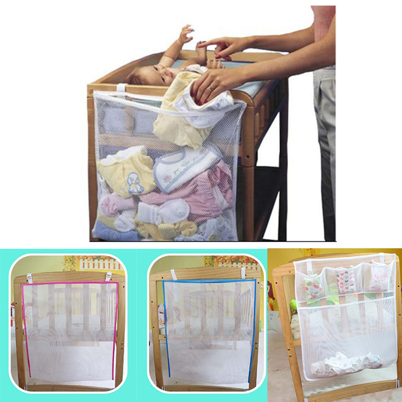 Baby Bed Hanging Storage Bag Cot Crib Organizer Bag Diaper Nappy Organizer Bag For Crib Bedding Set Bedside Toy Storage Mesh Bag