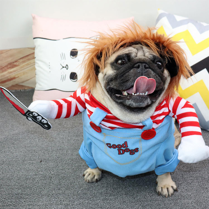 Halloween Dog Costumes Funny Pet Clothes Cat Cowboy Riders Outfit for Small, Medium, Large Bulldog, Christmas, Knight Cosplay