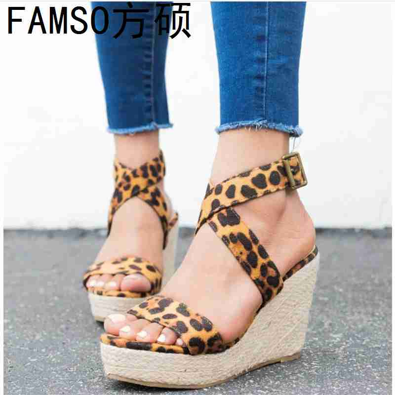 FAMSO Office Sandals Shoes Women Summer Wedges High-Heels Leopard Blue Large-Size Cross-Strap