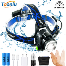IR Sensor LED Headlamp Fishing lamp Super bright Headlight Use T6/L2/V6 beads Support zoom Powered by 18650 battery