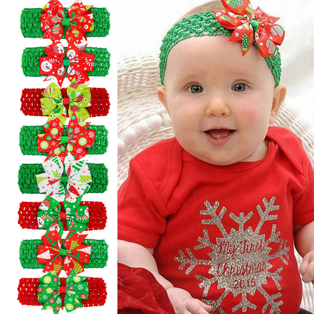 Baby Christmas Headband Toddler Kids Baby Girls Bow Christmas Headband Headwear Accessories Turban Bandage Newborn Headwrap Gift