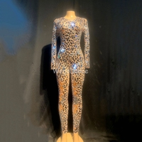 Sparkly Silver Mirrors Mesh Perspective Jumpsuit Backless Party Birthday Costume Singer Performance Dance Leotard