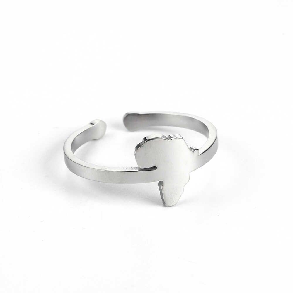 สแตนเลสสตีลแอฟริกาแหวนทวีปแอฟริกาแผนที่แหวนสำหรับผู้ชายผู้หญิงที่ดีที่สุดสำหรับพระองค์