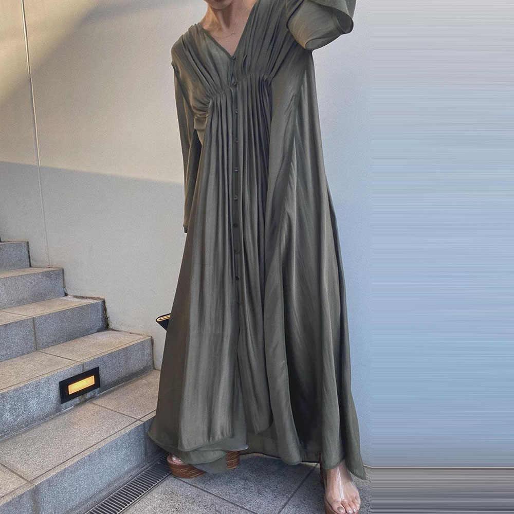 女性長袖韓国ドレス 2020 秋の夏vネックカジュアルaラインハイウエストプリーツロングマキシドレスオフィスレディース