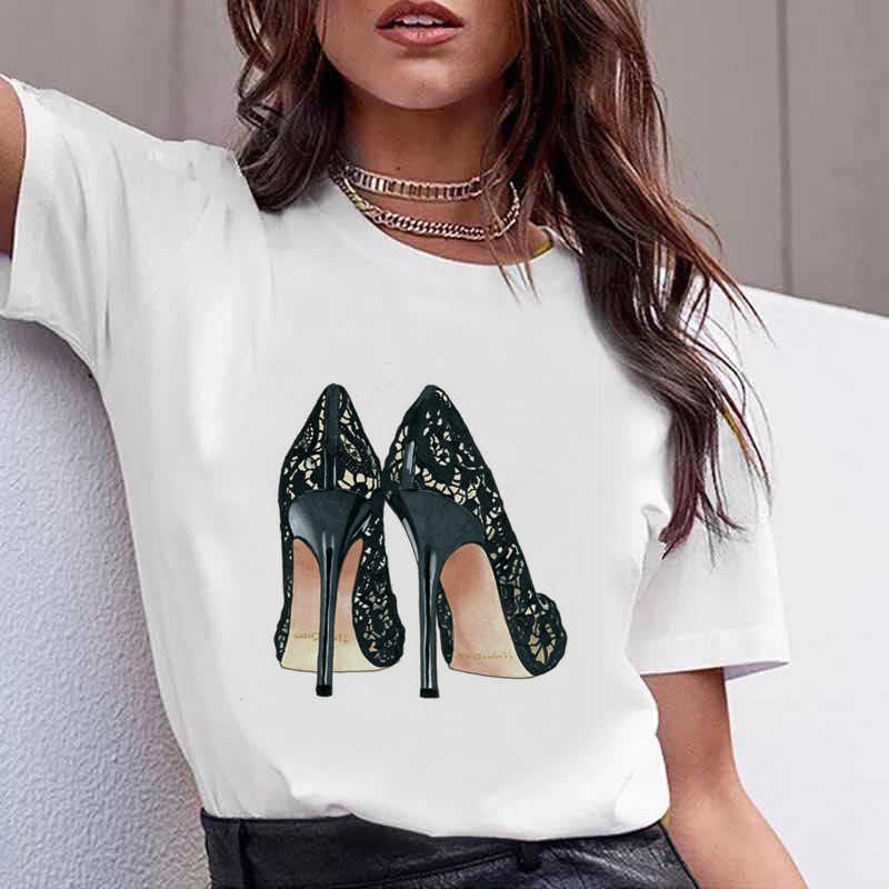 보그 수채화 꽃 하이힐 구두 프린트 티셔츠 여성 화이트 여름 탑 여성 티셔츠 여성 펑크 티셔츠 streetwear