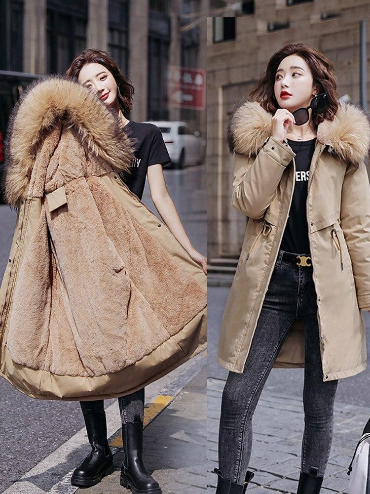 Padding Parkas-Jackets Hooded Mid-Long Fleece Warm Female Plus-Size Winter Women Slim