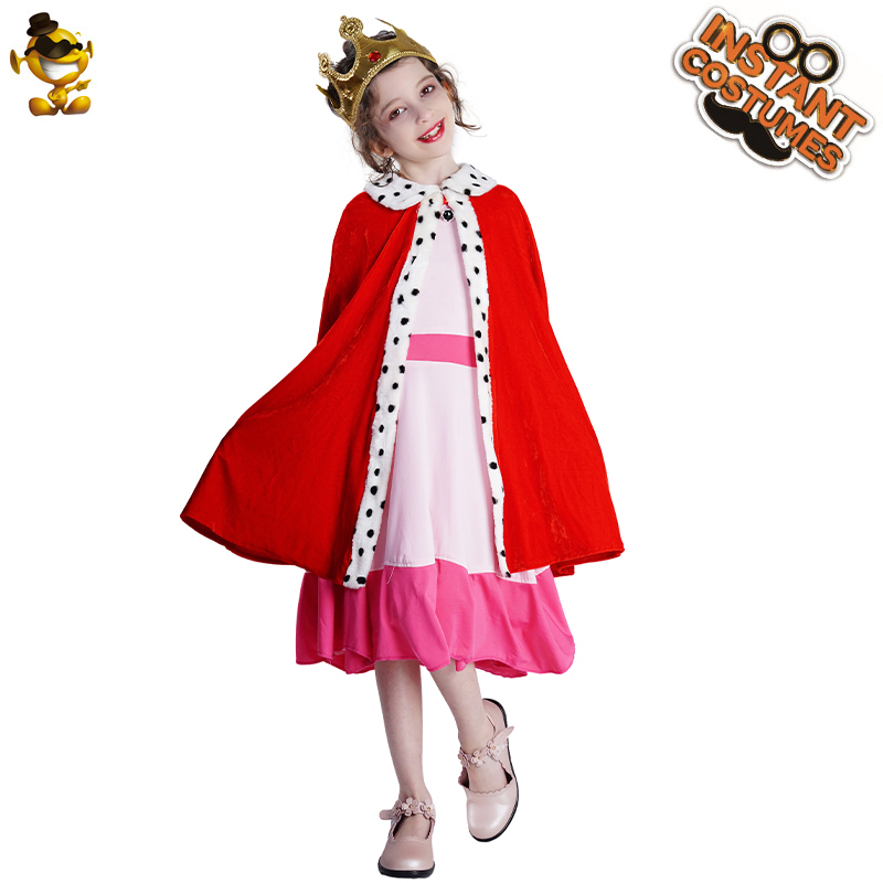 Carnival Costume For Child King Cape Costume Role Play Girl's Red King Princess Clothes With Crown