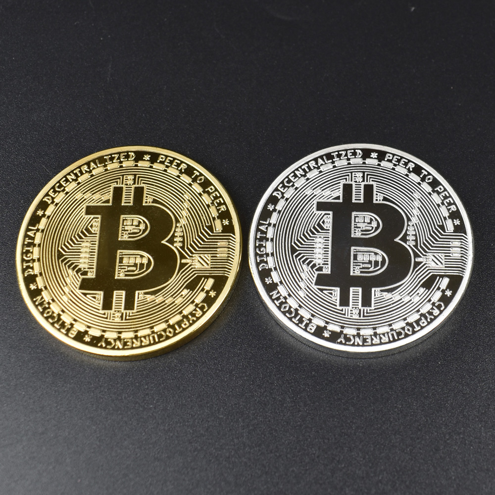 1PC Gold Plated  Bitcoin Coin BTC Bit Physical Metal Collectible Coin for gift with plastic case-1