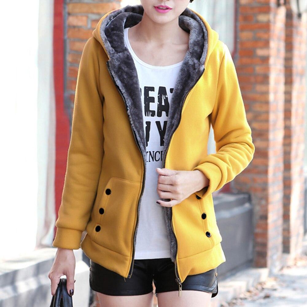 OEAK Winter Casual Warm Thick Hoodies 2019 Autumn Fashion Fleece Zipper Women Hooded Sweatshirt Plus Size Women Clothing