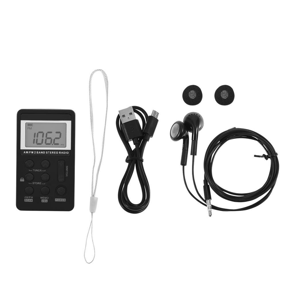 Mini Radio universelle Portable AM/FM double bande stéréo récepteur de Radio de poche avec écran LCD et écouteurs et batterie Rechargeable