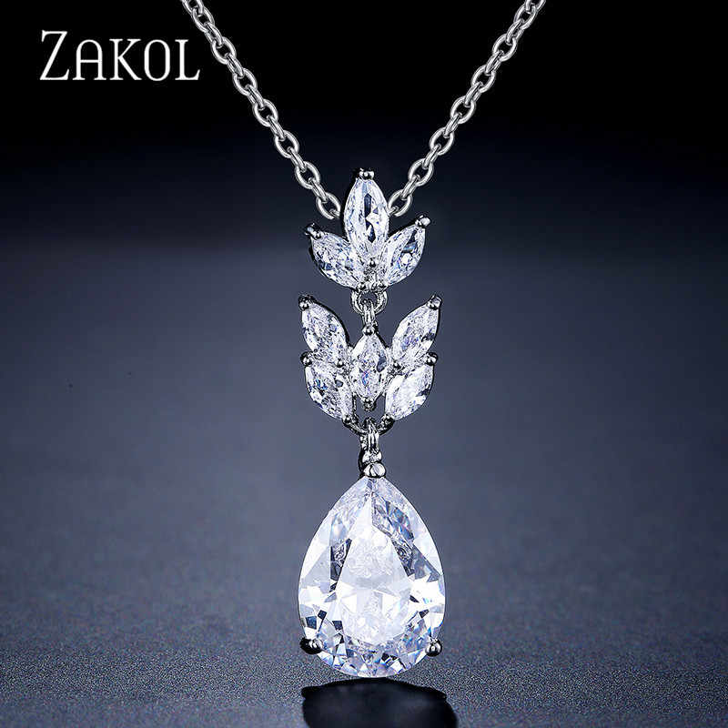 ZAKOL Fashion Water Drop Cubic Zirconia Leaf Pendant Necklace for Women Bridal Wedding Dinner Party Jewelry FSNP2144