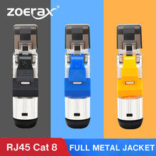 ZoeRax Cat8 Ethernet Cable Connector RJ45 Metal Tool Free Easy Termination Plug | for 2Ghz 40G Double Shielded Solid LAN Cable