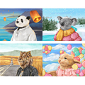 FSBCGT Oil Painting By Number Cut Catton Animals DIY Picture By Number Kits Drawing On Canvas Home Wall Art Decor