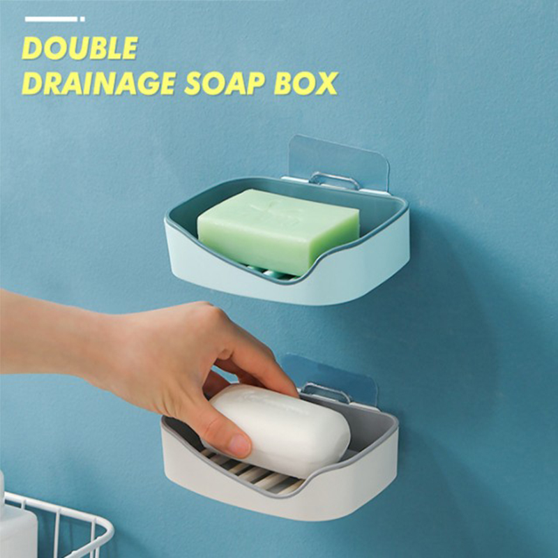 Suction Cup Soap Holder Drain Soap Box Bathroom Organizer Plastic Storage Box Wall-mounted Paste Tray Free Punching Accessories
