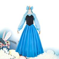Elegant The Little Mermaid Cosplay Ariel Costume Adults Blue Princess Dress For Women Halloween Party Sexy Fancy Dance Performan