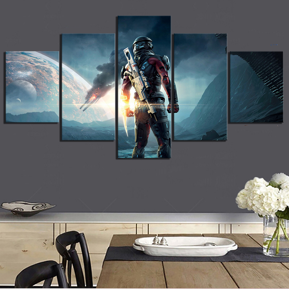 5 Piece Fantasy Art Paintings Mass Effect Andromeda Video Game Posters Canvas Art Wall Paintings for Home Decor image