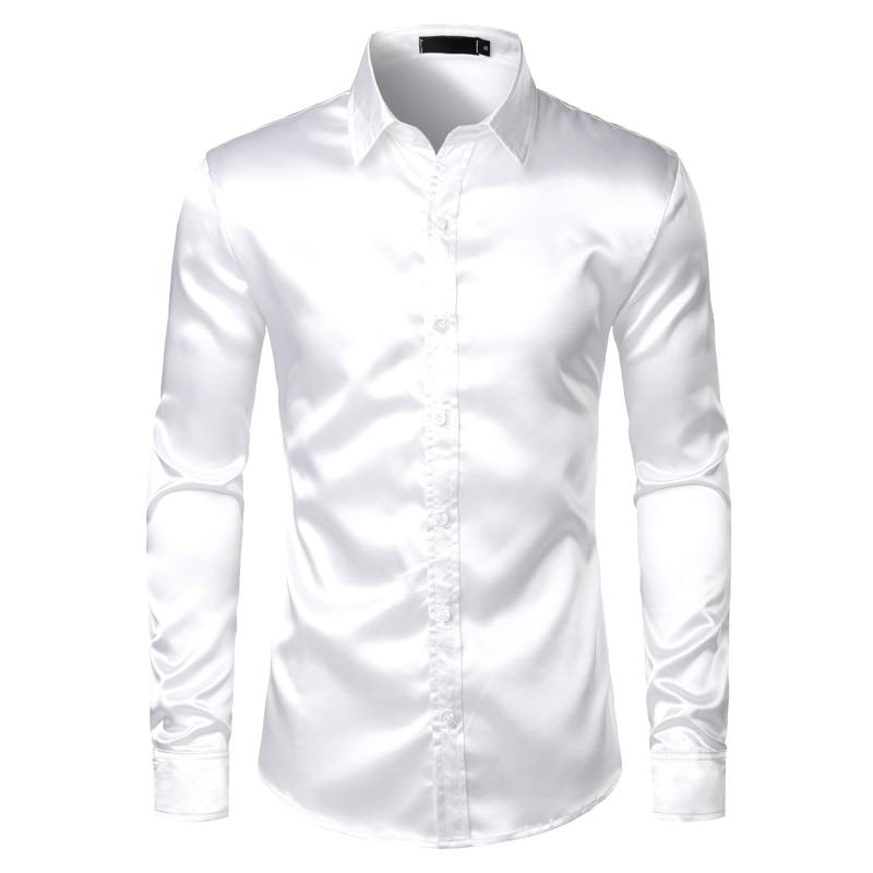 Men's Black Satin Luxury Dress Shirts 2019 Silk Smooth Men Tuxedo Shirt Slim Fit Wedding Party Prom Casual Shirt Chemise Homme 7