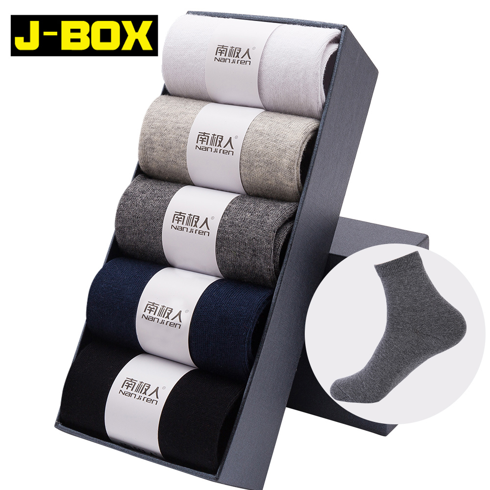 J-BOX 5 Pairs/Lot Men's Cotton Socks 2019  New Styles Black Business Men Socks Breathable Autumn Winter For Male US Size(7.5-12)
