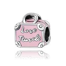 Pink Travel Bag Collection Charm Dangle Genuine 925 Sterling Silver  Fits Original Pandora Bracelet DIY Jewelry Making