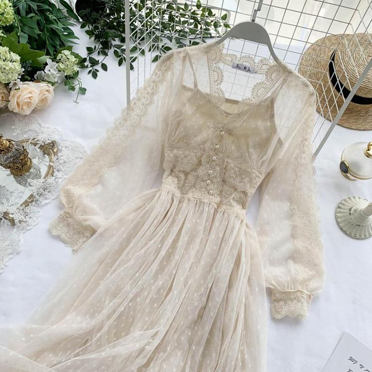 Lace Floral V-Neck Long Sleeve Polka Dot Dress 6