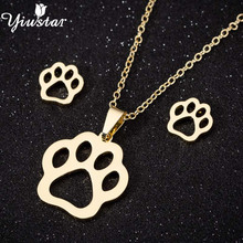 Yiustar Pet Dog Footprints Paw Fashion Jewelry Necklace Sets for Women Stainless Steel Pendant Charm Animal Stud Earring Set