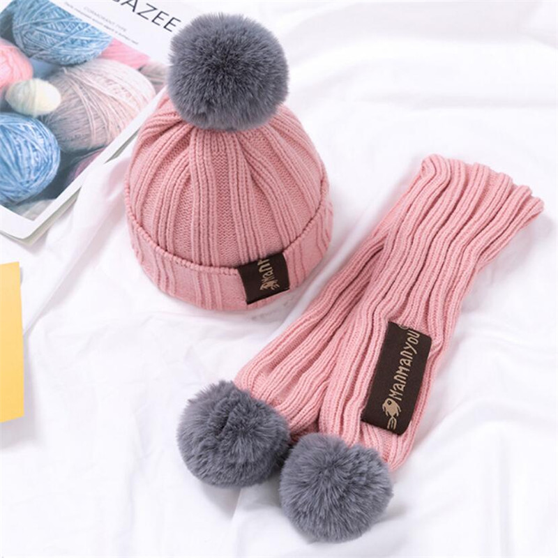 Kids Winter Warm Hat And Scarf 2019 Child Ribbed Knitted Pom Pom Cap Scarves 2 Piece Set Baby Girl Boys Accessories 6-36 Month