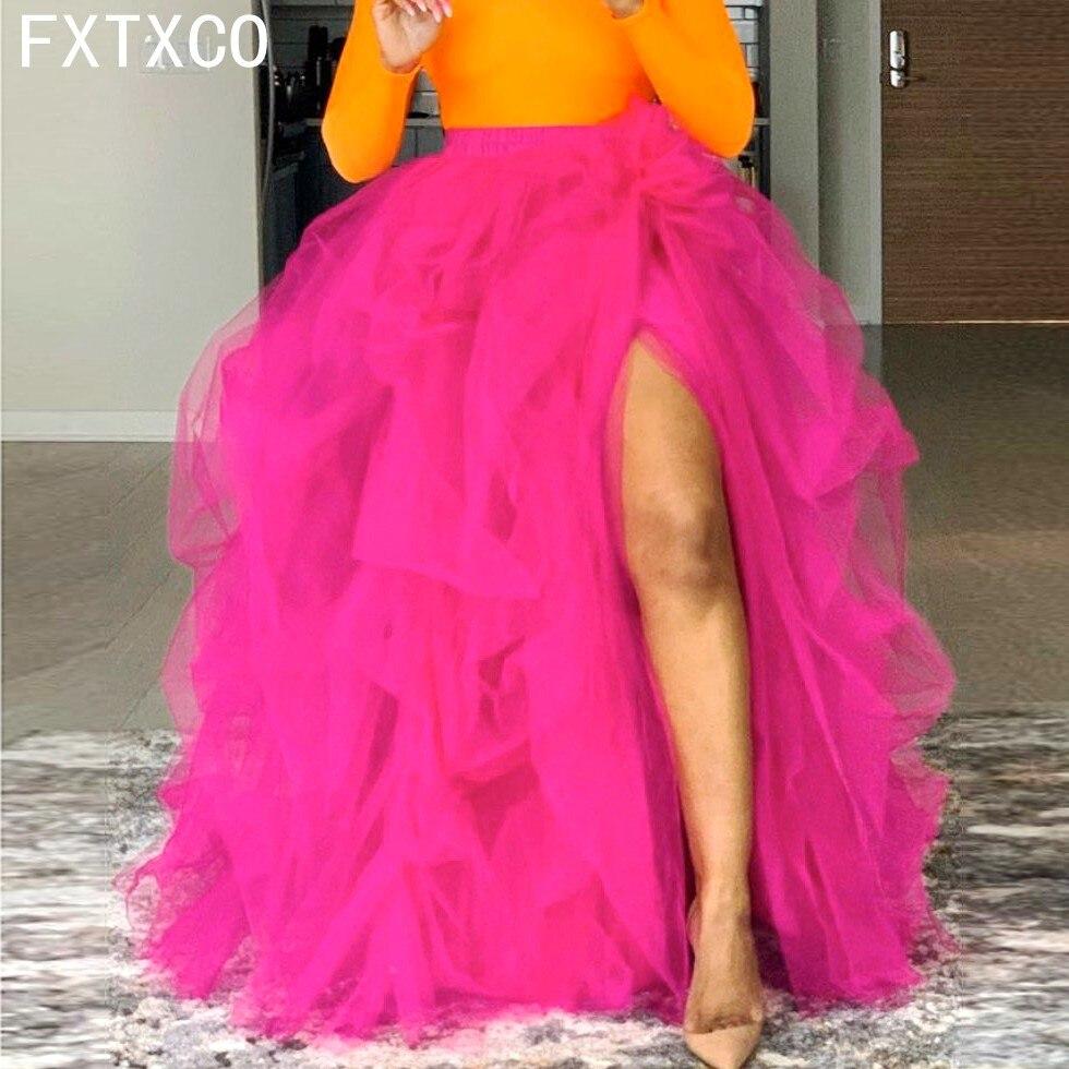 Fúcsia longo tutu tule saia perna lado fenda fadas jupe femal saias femininas quente rosa tule inchado saia