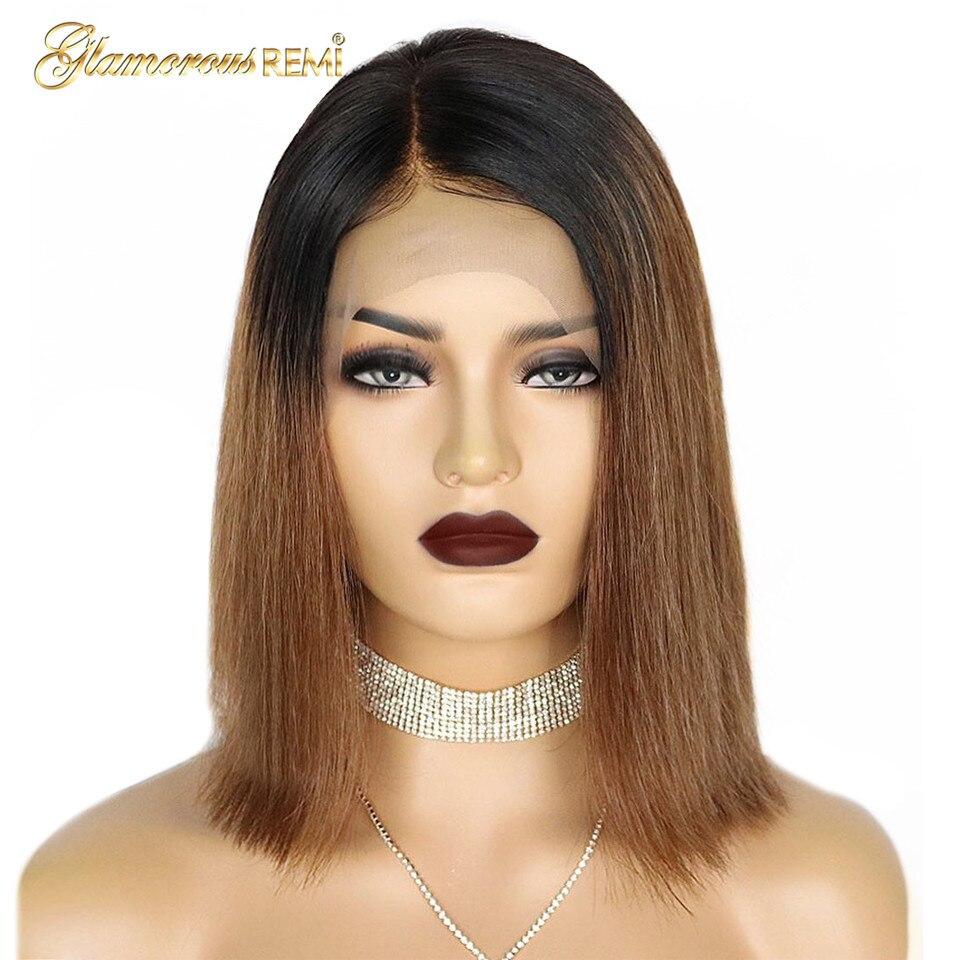 1B 30 Омбре коричневый парик из натуральных волос на кружеве для черных женщин 100% Человеческие волосы remy парик с фронтальной шнуровкой короткий боб парик 13*4 предварительно выщипанный - 2