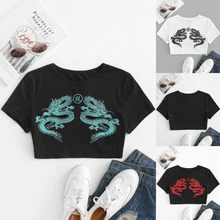 New Darlingaga Dragon Print White Oversized T Shirt Women Short Sleeve Tee Tops Streetwear Loose Long Summer T-shirt Top Clothes(China)