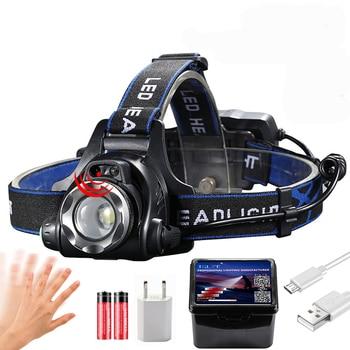 IR Sensor Headlight USB Rechargeable V6/L2/T6 Induction LED Headlamp Fishing Head Light Lamp Lantern By 18650 Battery