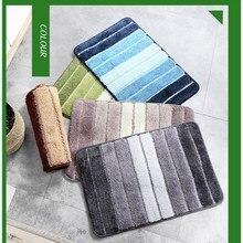 Household striped bath rug cover door mat bathroom absorbent non-slip bath mat 80x120, household bedroom floor carpet