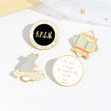 Funny Round Letter Enamel Pins Library Mouse Jewelry Brooches Denim Shirt Collar Badge Lapel Pins Friends Gifts For Students funny round letter enamel pins library mouse jewelry brooches denim shirt collar badge lapel pins friends gifts for students