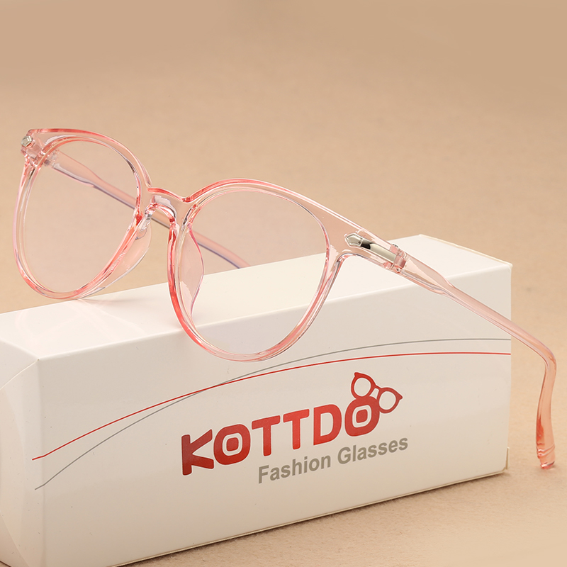 KOTTDO New Round Women Glasses Anti-radiation Eye Glasses Frame Transparent Retro Vintage Glasses Frame Women Eyewear Frame
