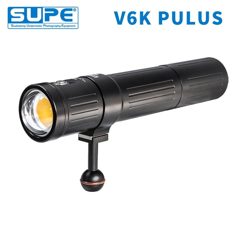 SUPE Scubalamp V6K Plus 12000 lúmenes subacuática foto vídeo luz buceo búsqueda haz de luz ángulo 120 alto Medio bajo atenuación