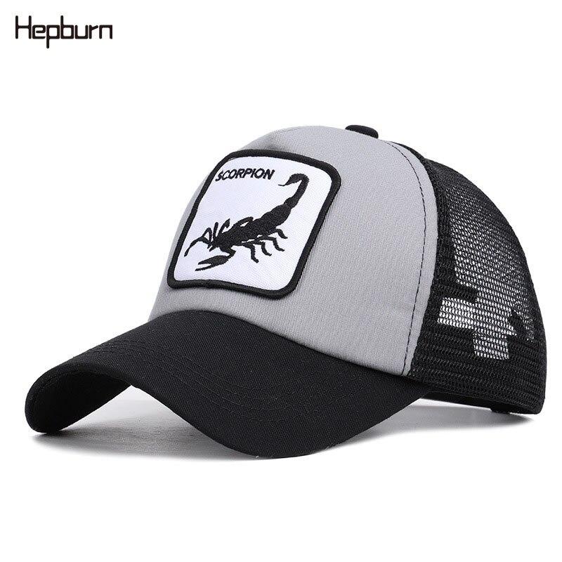 Hepburn Brand Animals Scorpion Embroidery Leisure Cotton Baseball Caps Men Women child Snapback Summer Mesh Sun Hats Adjustable