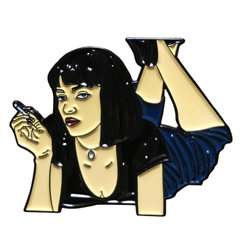 Cult classic pin badge Mia Wallace's fanart poster from the famous movie Pulp Fiction image